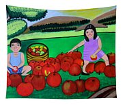 Kids Playing And Picking Apples Tapestry