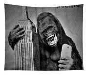 King Kong Selfie B W  Tapestry