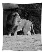 King Of Beasts Black And White Tapestry