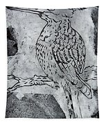 Kingfisher White On Black Tapestry