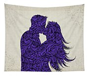 Kissing Couple Silhouette Ultraviolet Tapestry