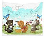 Kittens Washing Mittens Tapestry
