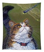 Kitty And The Dragonfly Close-up Tapestry