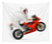 Kitty On A Motorcycle Doing A Wheelie Tapestry
