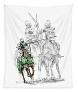 Knight Time - Renaissance Medieval Print Color Tinted Tapestry