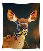 Kudu Portrait Eating Green Leaves Tapestry