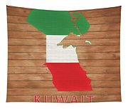 Kuwait Rustic Map On Wood Tapestry