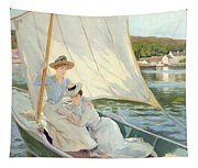 Ladies In A Sailing Boat  Tapestry