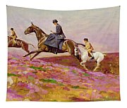 Lady Currie With Her Sons Bill And Hamish Hunting On Exmoor  Tapestry