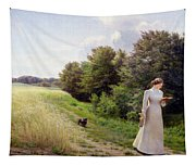 Lady In White Reading  Tapestry