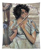 Lady Playing Flute Tapestry
