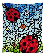 Ladybug Art - Joyous Ladies 2 - Sharon Cummings Tapestry by Sharon Cummings