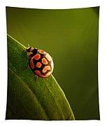 Ladybug  On Green Leaf Tapestry