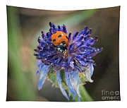 Ladybug On Purple Flower Tapestry