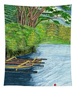 Lake Bratan Boats Bali Indonesia Tapestry