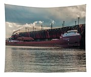 Lake Freighter - Honorable James L Oberstar Tapestry