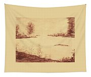 Lake Scene On Parchment Tapestry
