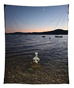 Lake Tahoe Sunset With Rocks And Black Framing Tapestry
