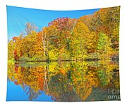 Lakeside Autumn Reflections Nj Tapestry