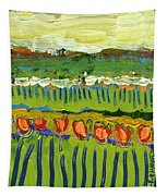 Landscape In Green And Orange Tapestry by Jennifer Lommers