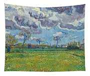 Landscape Under A Turbulent Sky Tapestry
