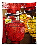 Lanterns In Market Place Tapestry