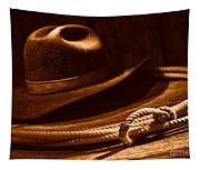 Lariat And Hat - Sepia Tapestry