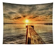 Last Call At Sunset Dock Tapestry