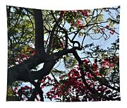 Late Afternoon Tree Silhouette With Bougainvilleas I Tapestry