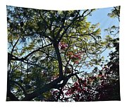 Late Afternoon Tree Silhouette With Bougainvileas II Tapestry