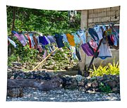 Laundry Drying In The Wind Tapestry