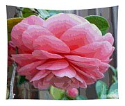 Layers Of Pink Camellia - Digital Art Tapestry