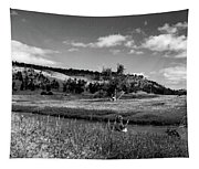 Legend Of The Bear Wyoming Devils Tower Panorama Bw Tapestry