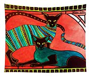 Legend Of The Siamese - Cat Art By Dora Hathazi Mendes Tapestry