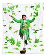 Leprechaun Tossing Shamrock Leaves Up In The Air Tapestry by Oleksiy Maksymenko