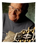 Les Paul With His White Gibson Les Paul Custom Guitar By Gene Martin Tapestry