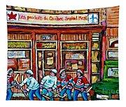 Les Scenes De Pointe St Charles Les Produits Smoked Meat Avec Partie De Hockey Tapestry
