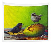 Lesser Antillean Bullfinches And Mango Tapestry