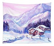 Swiss Mountain Cabins In Snow Tapestry