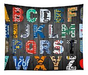 Letters Of The Alphabet Recycled Vintage License Plate Art With Apple Colorful School Nursery Kids Room Print Tapestry