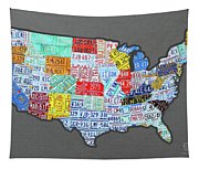 License Plate Map Of The United States Edition 2016 On Steel Background Tapestry