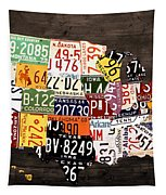 License Plate Map Of The United States - Warm Colors / Black Edition Tapestry by Design Turnpike