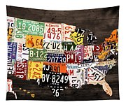 License Plate Map Of The United States - Warm Colors / Black Edition Tapestry