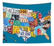 License Plate Map Of The Usa On Royal Blue Tapestry