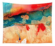 Life Eternal Red And Green Abstract Tapestry