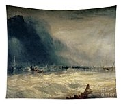 Lifeboat And Manby Apparatus Going Off To A Stranded Vessel Making Signal Of Distress Tapestry