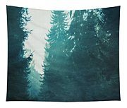 Light Coming Through Fir Trees In Mist Tapestry