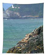 Light House And Sea Lions Tapestry