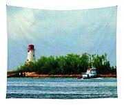 Lighthouse And Boat Nassau Bahamas Tapestry
