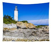 Lighthouse And Rocks Tapestry